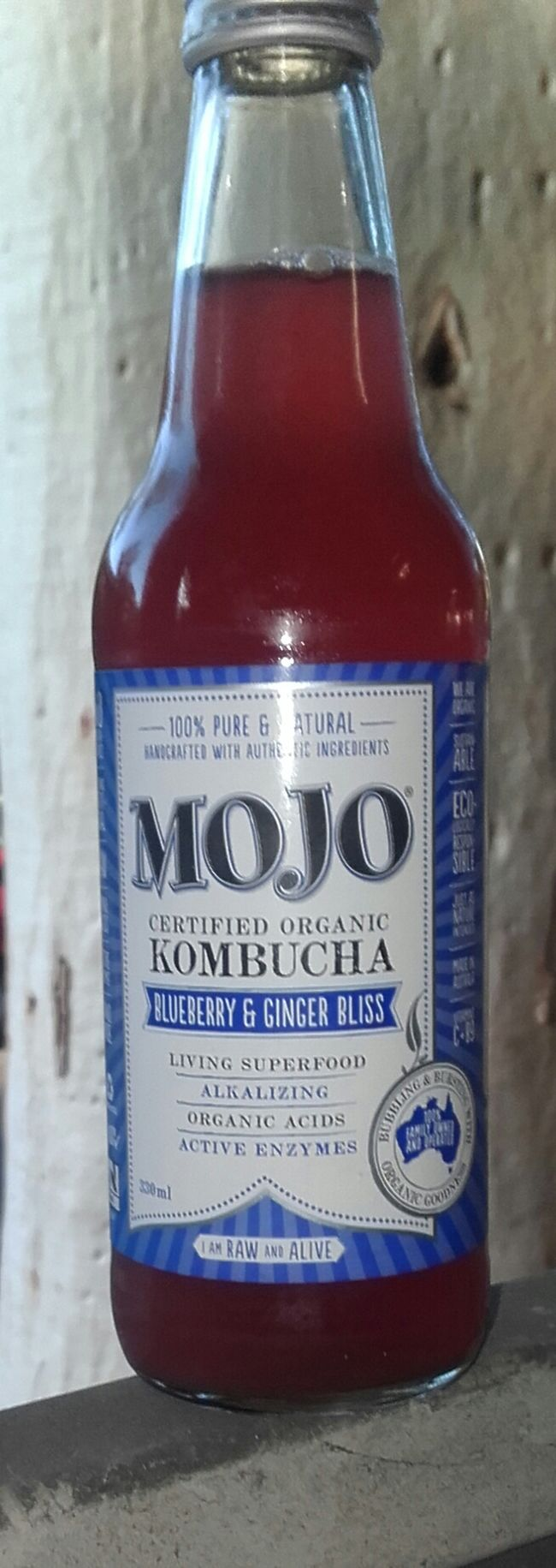 Mojo Kombucha Elixir I Got My Mojo Back Blueberry & Ginger Bliss Certified Organic FirstThing Active Enzymes Probiotic Alkalizing Organic Acids Superfood Mojoporn Bottles 100% Natural Organic Kombucha 100% Pure Non-alcoholic Drinks And Bottles Ecologically Responsible Vitamin C Drinks Vitamin B9 Blueberry & Ginger