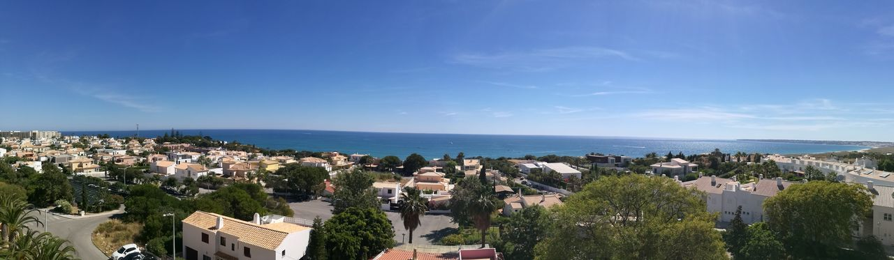 Sea Horizon Over Water Cityscape Building Exterior Outdoors Clear Sky Day Blue Town Sky Water Urban Skyline View From Above Algarve Coast View Sea View Summer Vacations Panoramic Landscape Panoramic Photography Panoramic Panoramic Views High Angle View