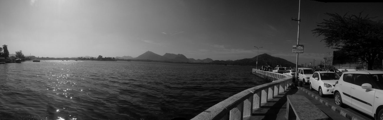 black and white Adapted To The City Black And White Ideal IPhone Photography Lake Mountain Prespective Railing Scenics Sky
