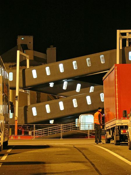 Calais  Cargo Terminal Night Nightphotography Night Lights Night Photography Man At Work Men At Work  Night View Industrial Landscapes Industrial Playground Nightshot Nightscape Nightlights Darkness And Light Working Man Working Hard Worker Gangway Cargo Port Cargo Services Night Images Night Shot Waiting For The Ferry  TransportForLondon