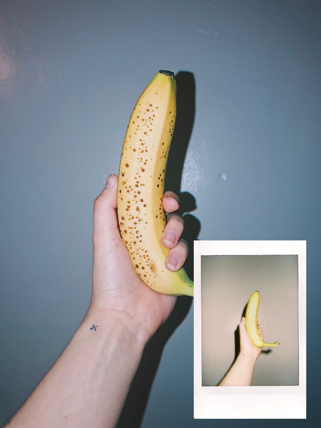 Instant Photo A Day Fruit Real People Human Hand Food And Drink Banana Food Holding One Person Healthy Eating Lifestyles Freshness Human Body Part Technology Close-up Women Men Banana Peel Indoors  Day Film Photography Film Film Is Not Dead