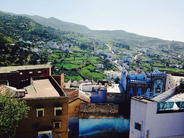 view over Chefchaouen from the kasba located in the city center Morning Chefchaouen Kasbah View View From Above Blue Sky Beautiful City Mountains First Eyeem Photo
