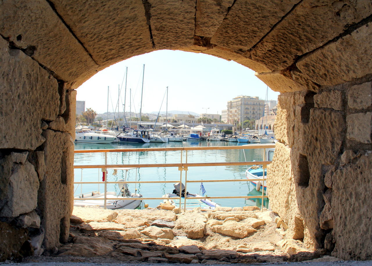 Boats Crete Day Greece Heraklion Port Nature Outdoors Sky Sunny Day Tunnel Vision View From The Fortress Water