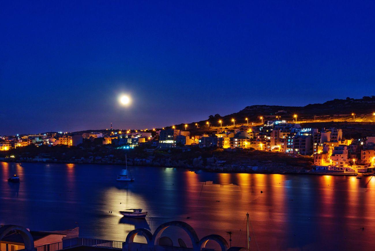 Stpaulsbay Xemxija Malta Bay Port Moon Moonlight Full Moon Full Moon 🌕 Fullmoon Full Moon Night  Sea Mediterranean  Mediterranean Sea Long Exposure Nightphotography Night Photography Night Lights Boat Boats Boats⛵️ Boote Boot