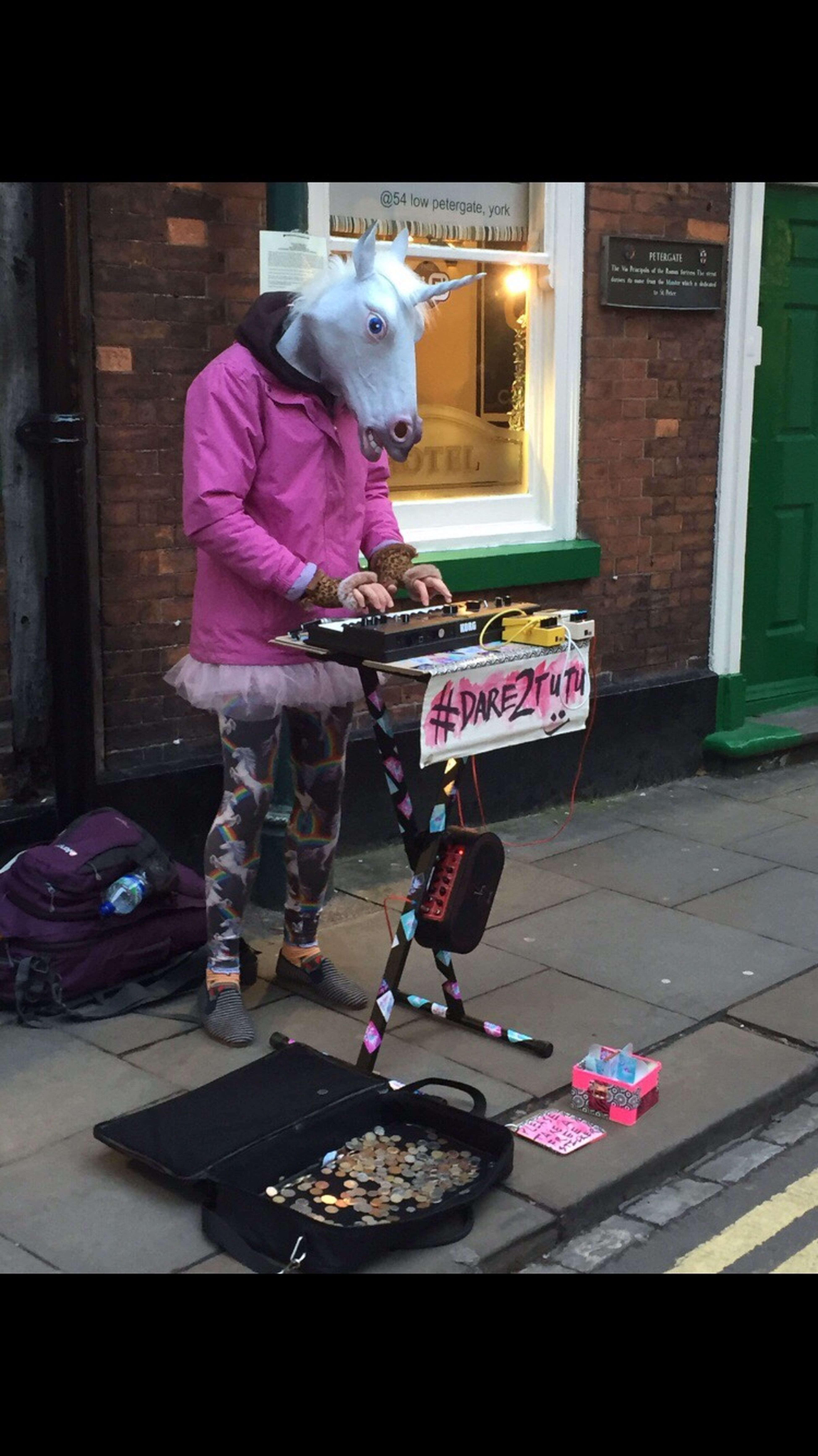 Music York Streetphotography Photooftheday Photography Funny Dressing Up Musician Busker Donation Sing For Pennies