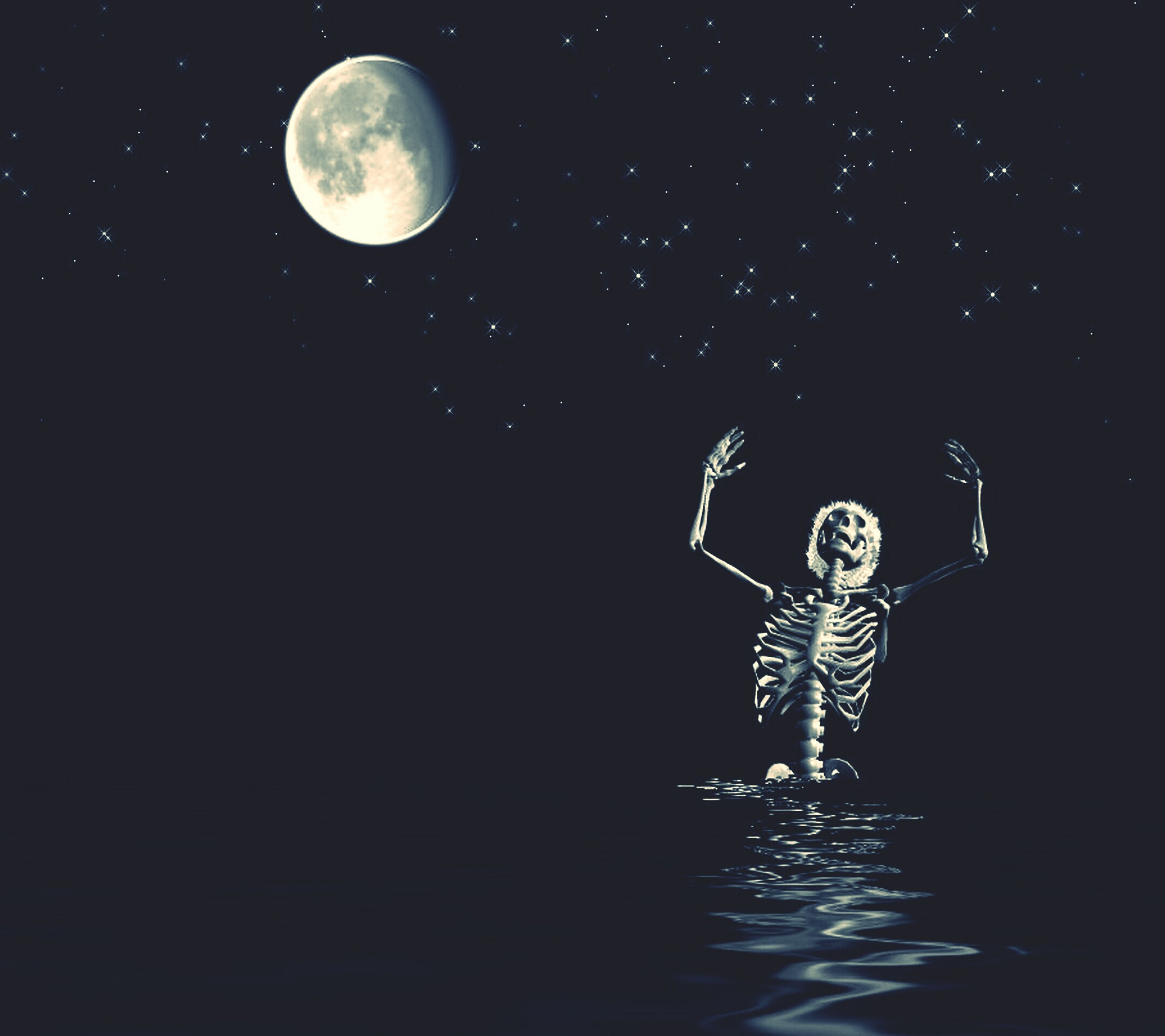 night, water, astronomy, moon, reflection, copy space, motion, low angle view, discovery, illuminated, drop, waterfront, nature, splashing, exploration, dark, no people, beauty in nature, full moon, mid-air