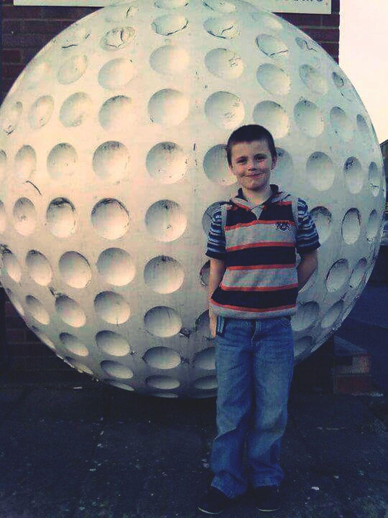 Giant Golf Ball My Son Taking Photos