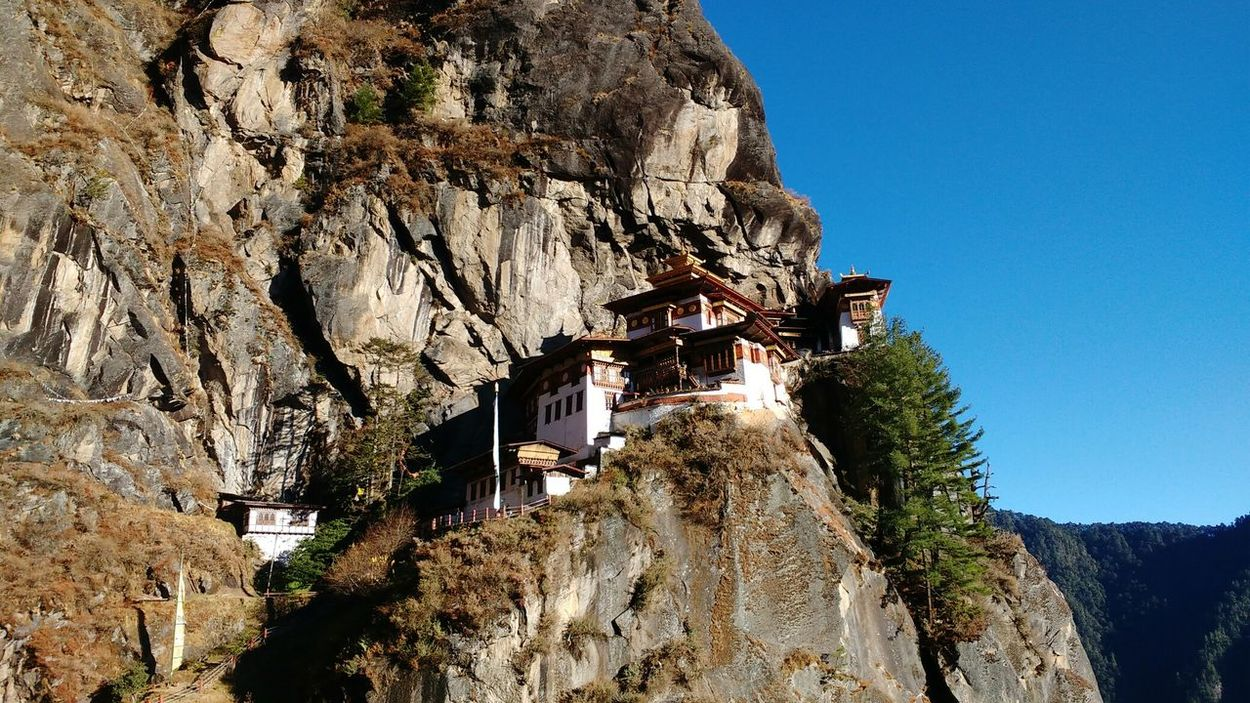 Tiger's Nest Sunlight Low Angle View Built Structure Bhutan Miles Away