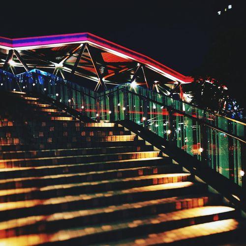 近铁广场 City Night City Life Illuminated Architecture Built Structure Low Angle View Bridge - Man Made Structure Outdoors Travel Destinations No People Multi Colored Suspension Bridge Sky Cityscape