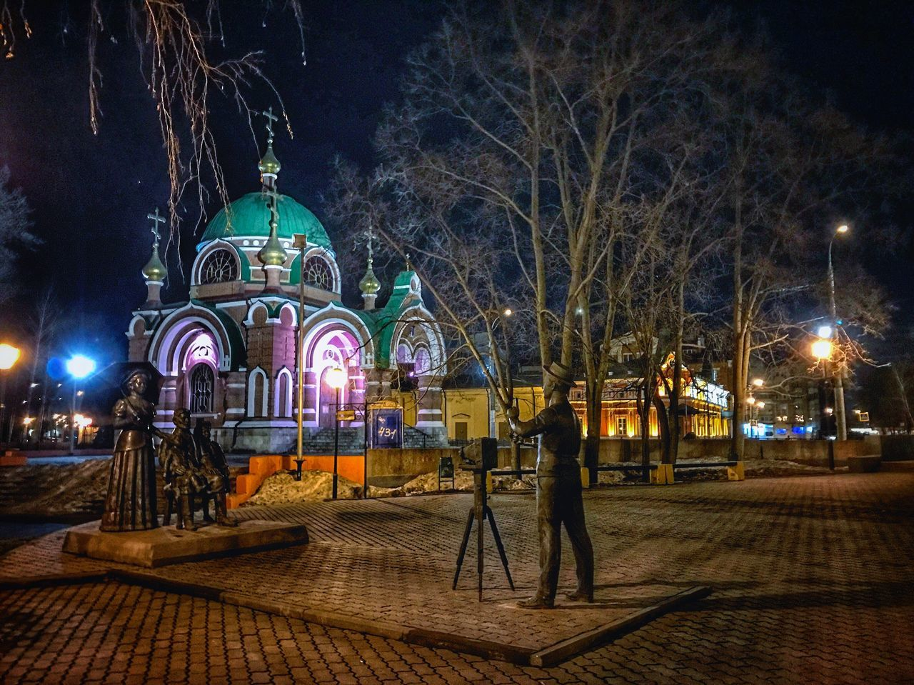 Illuminated Night City Street Light Architecture Travel Destinations Building Exterior Tree Celebration Outdoors липецк Lipetsk City Life Religion Christmas People Sky Adults Only Adult