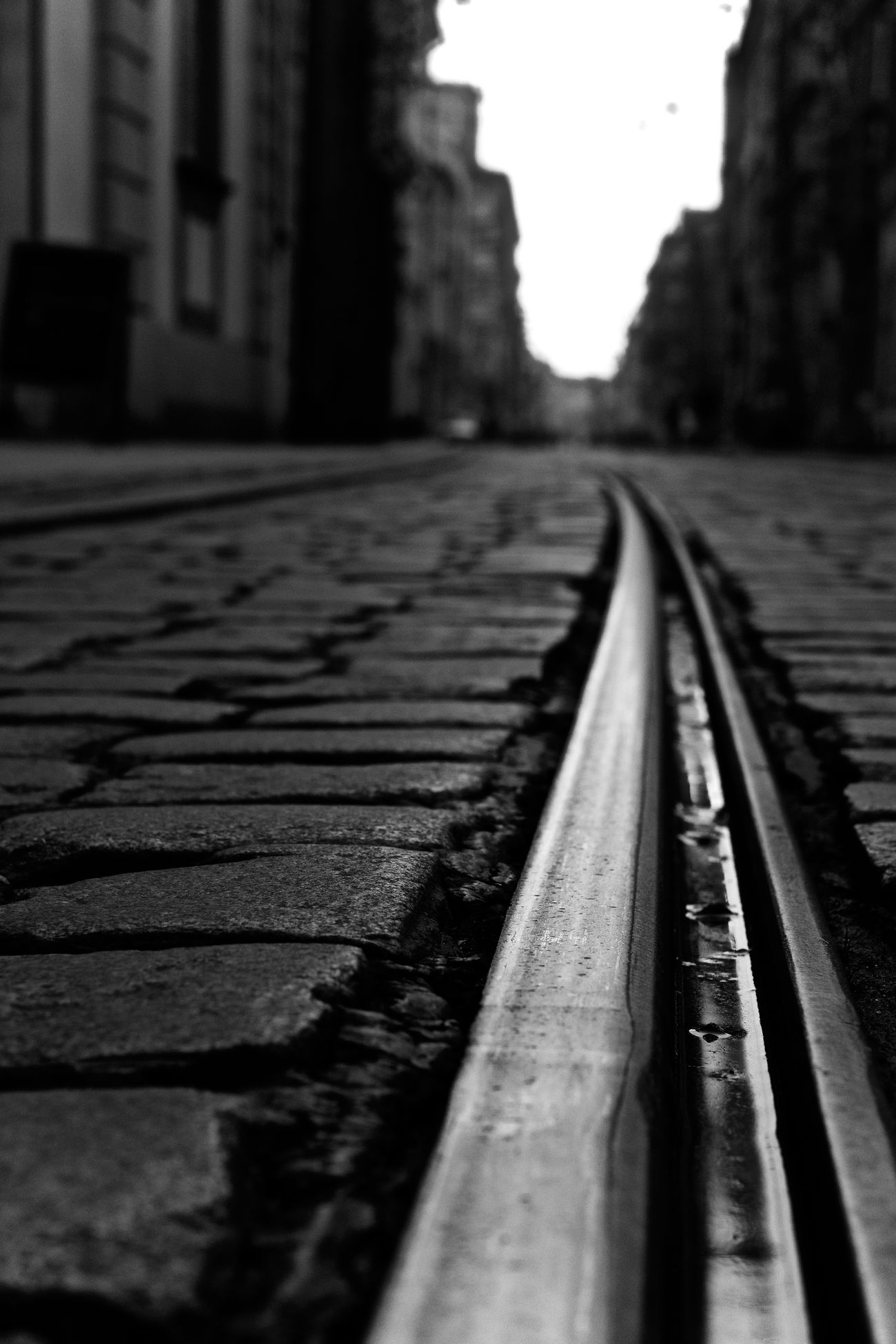 Architecture Black And White Building Exterior Built Structure Cobblestone Day Nature Nikon No People Outdoors Railroad Track Road Street Streetphotography Surface Level The Way Forward Transportation Urban