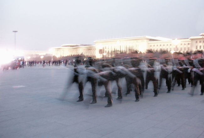 Beijing China City City Street Group Of People Guards In A Row Marching Motion Motion Blur Movement Outdoors Pekin Rythm Tiananmen Square