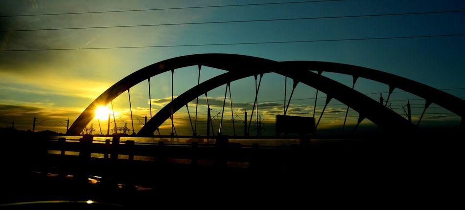 Architecture Bridge Bridge - Man Made Structure Built Structure Nature No People Outdoors Silhouette Sky Sunlight Sunrice #sunrice #morning #lovely Transportation