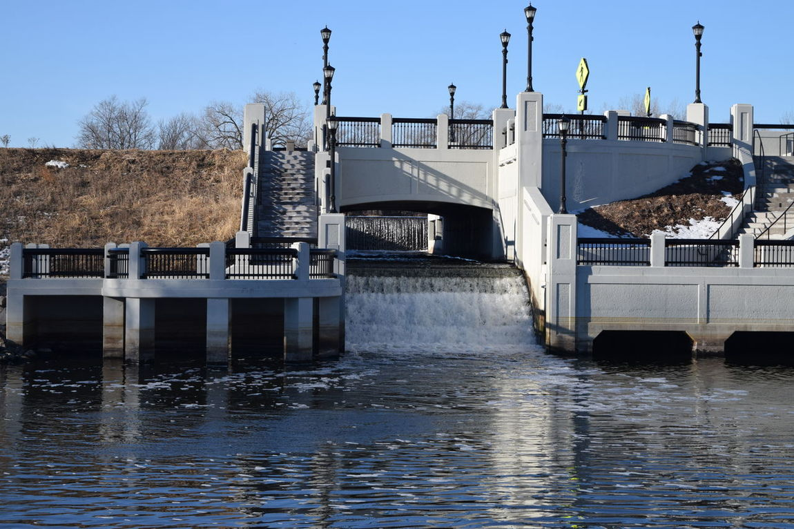 Alternative Energy Architecture Bridge - Man Made Structure Built Structure Business Finance And Industry Cement Clear Sky Dam Day Nature No People Outdoors River River View Sky Water Waterfall Waterfront