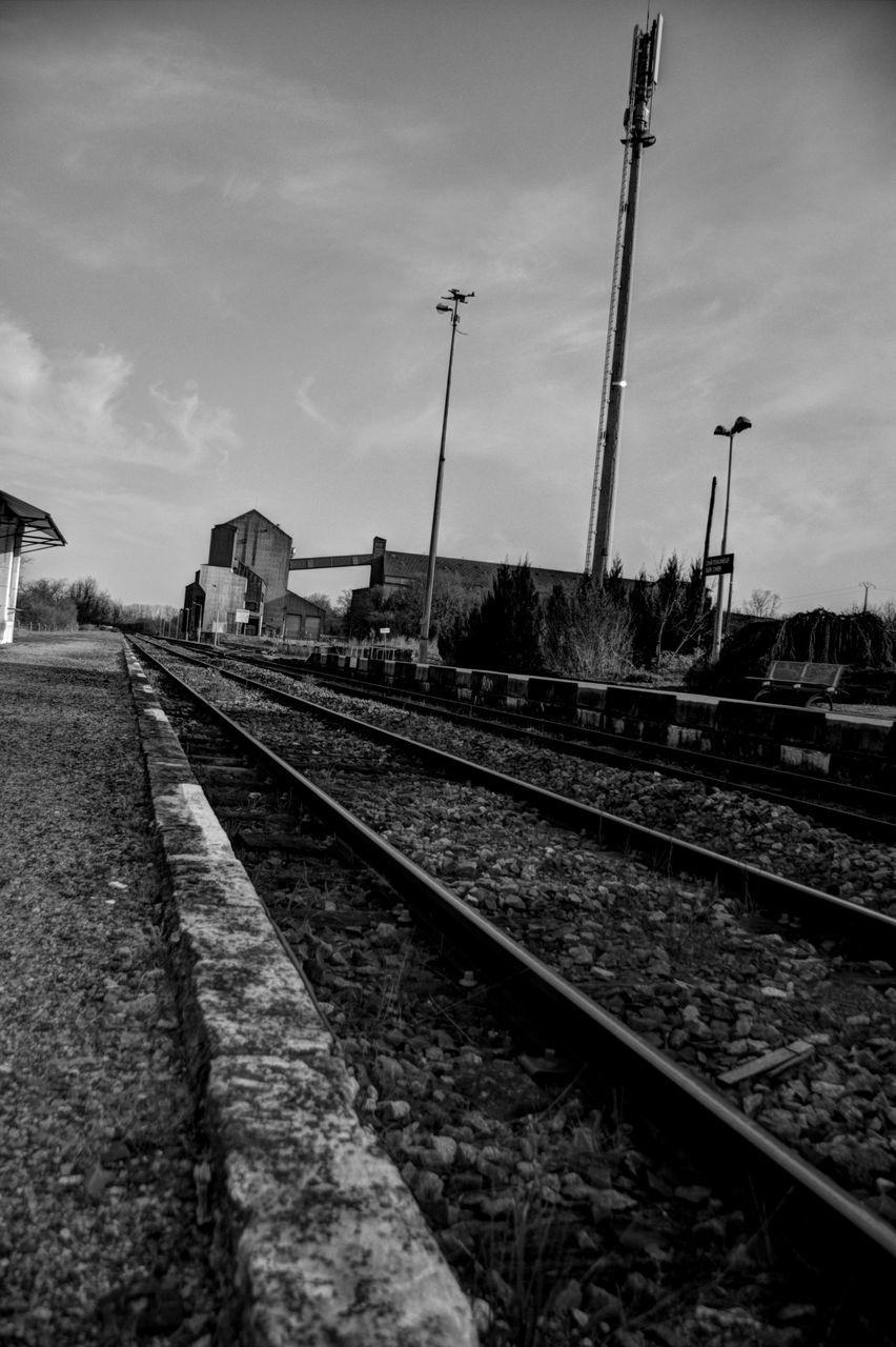 railroad track, transportation, rail transportation, sky, no people, cloud - sky, day, outdoors