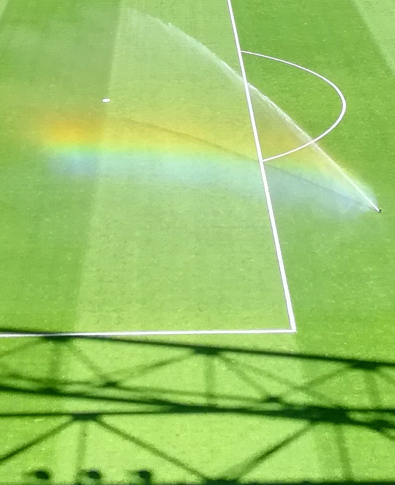Green Color Soccer Field Sport Soccer Playing Field No People Backgrounds Grass Nature Day Close-up Outdoors Rainbow Arcobaleno  Water Reflections Colors