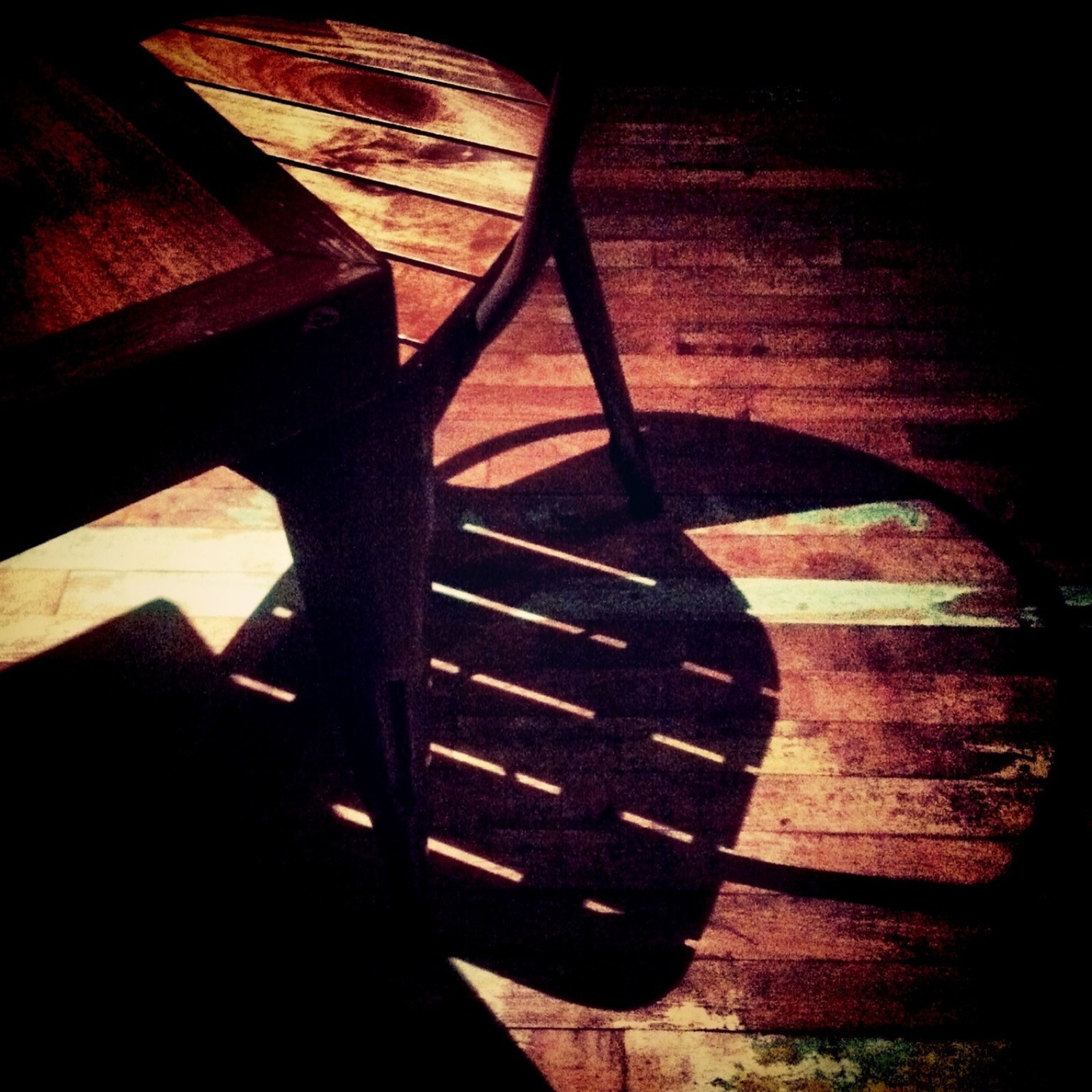 shadow, high angle view, indoors, steps, wood - material, sunlight, staircase, steps and staircases, chair, absence, close-up, empty, table, no people, bench, wooden, wood, pattern, dark, wall - building feature