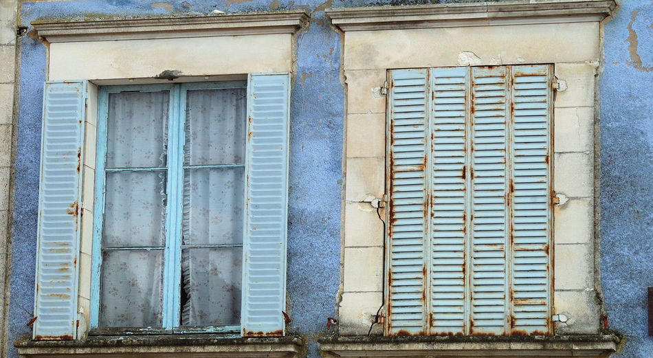 Architecture Architecture Rurale Bleu Blue Building Exterior Closed Damaged Façade Fenêtre House Low Angle View No People Old Outdoors Persiennes Residential Building Residential Structure Rideau Treigny Volets Wall Window