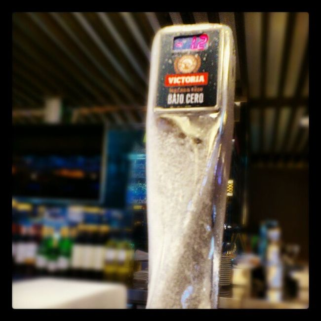 Ice Builds Up on the Beer dispenser at el_Corte_ingles cafeteria marbella spain