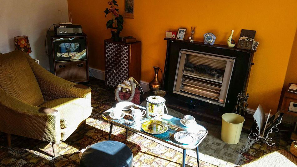 60's Seat Flower Speaker Shelves Television Living Room Hi-Fi Electric Fire Carpet Clock Fireplace Coffee Table Radio Ornaments Lamp Lampshade Vacuum Cleaner Magazine Rack Rug Tea Set Jug Crockery Picture Decor