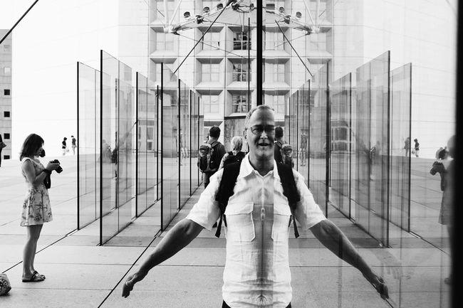 Reflected | VSCO Vscocam Paris ❤ La Défense Paris La Defense La Grande Arche Reflections Monochrome Blackandwhite B&w Portraits