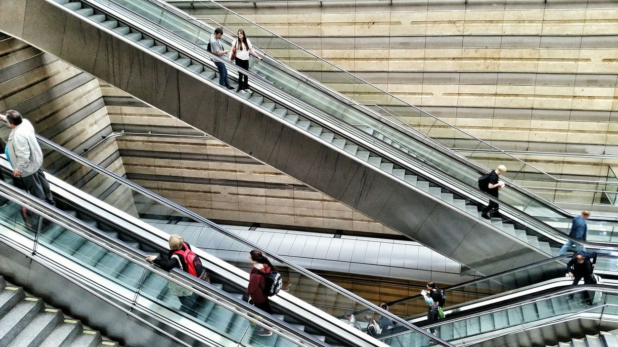Escalator Moving Stairway People Peoples Architecture Modern Built Structure Medium Group Of People Day City City Life Mixed Age Range Travel Destinations Casual Clothing Tourism Leipzig Hauptbahnhof Railstation Leipzig Leipzigcity Leipzigtravel Leipzigram Germany Showcase June