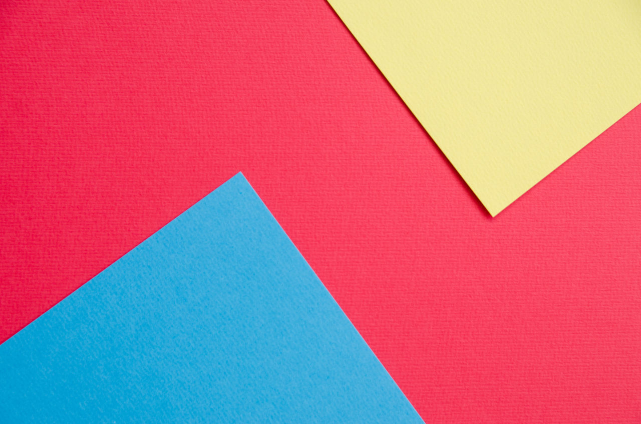 Backgrounds Blue Color Close-up Colorful Colors Copy Space Cut Out Day Full Frame Multi Colored No People Paper Red Studio Shot Yellow