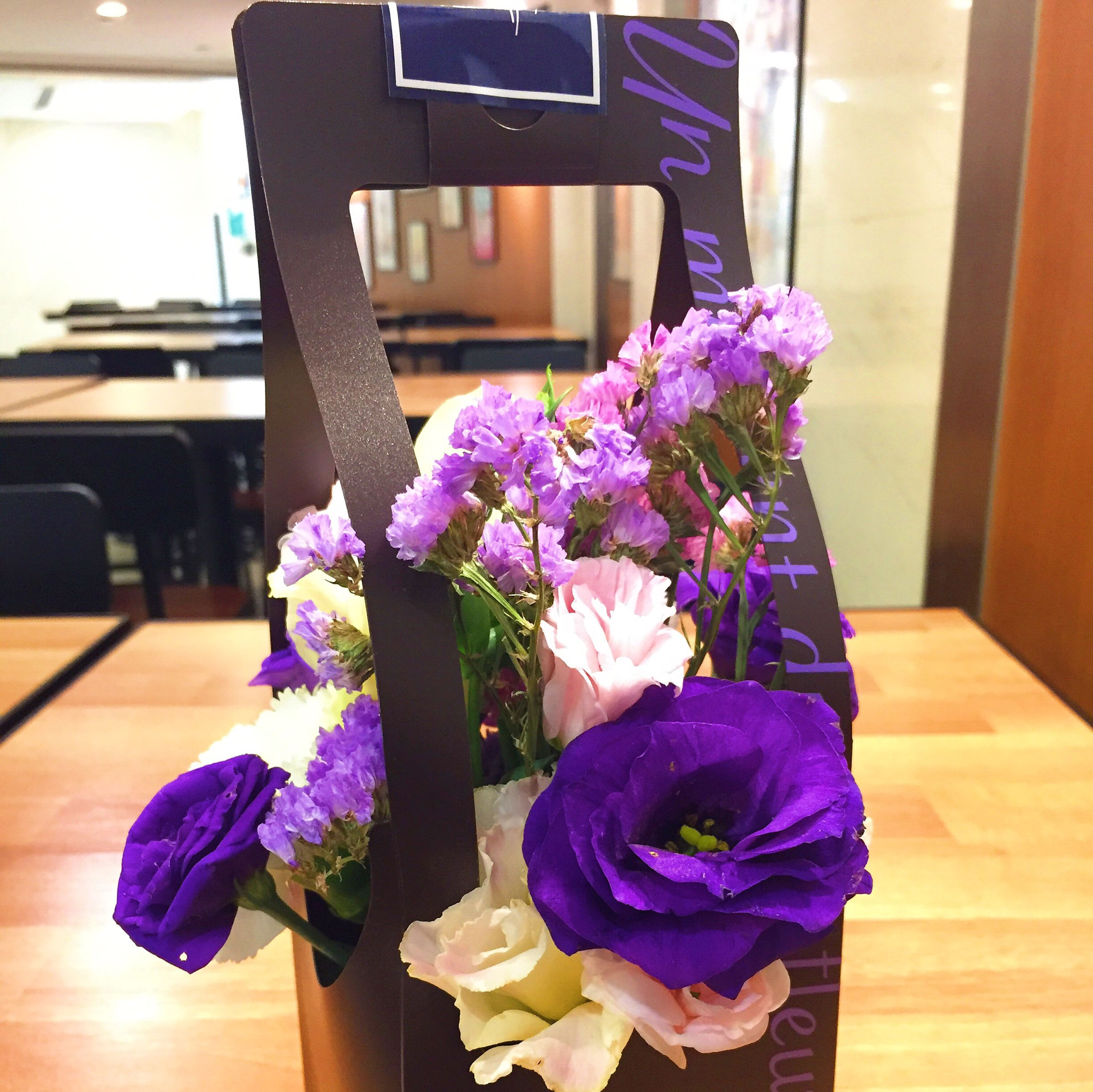 flower, freshness, purple, fragility, petal, indoors, flower head, architecture, built structure, vase, potted plant, table, building exterior, house, window, bunch of flowers, focus on foreground, day, blooming, home interior