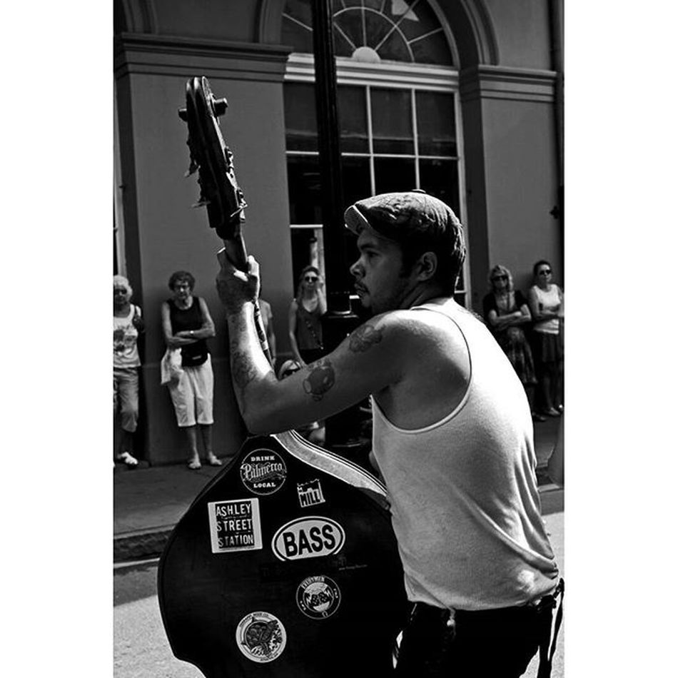 The Bass Player Neworleans Thisisneworleans NOLA Louisiana music streetperformer jazz streetportrait streetphotography blackandwhite bnw 35mm canon travel photooftheday