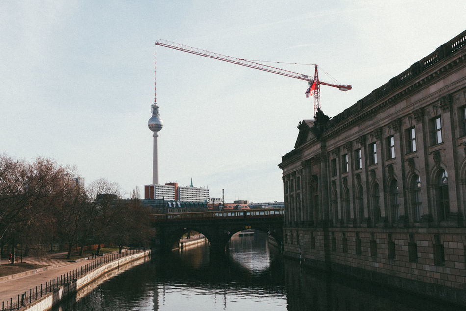 Bode-view. Architecture Berlin Berlin Photography Berliner Ansichten Bridge - Man Made Structure Building Exterior Built Structure City City City Life Cityscape Connection Crane Day Fernsehturm Germany No People Outdoors River Sky Streetphotography Travel Destinations TV Tower Urban Water