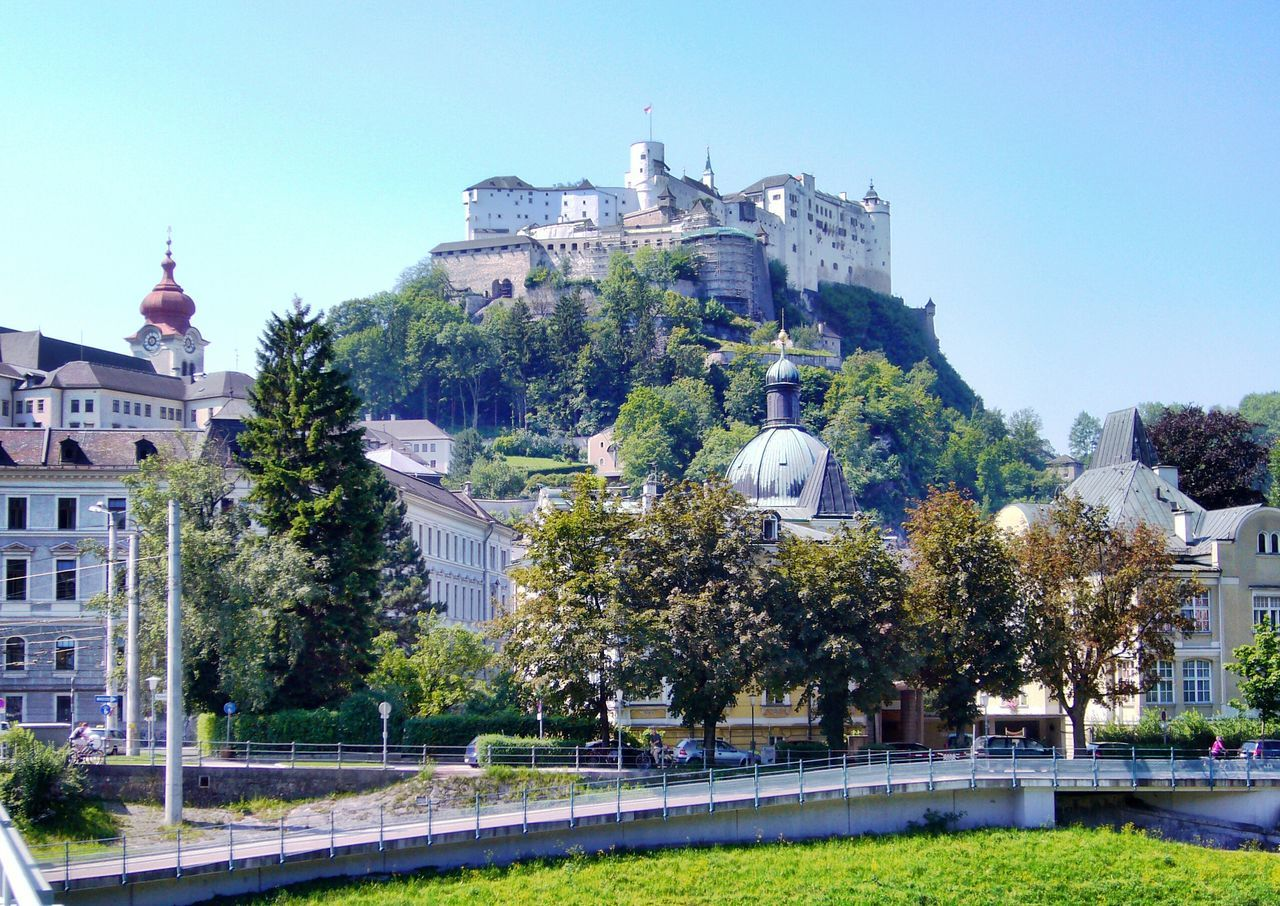 Castle Tower Architecture Building Exterior Built Structure Clear Sky History Dramatic Angels Scenics Different Perspective Urban Exploration Urban Photography Architecture Street Photography Buildings Old Hohensalzburg Castle Salzburg, Austria