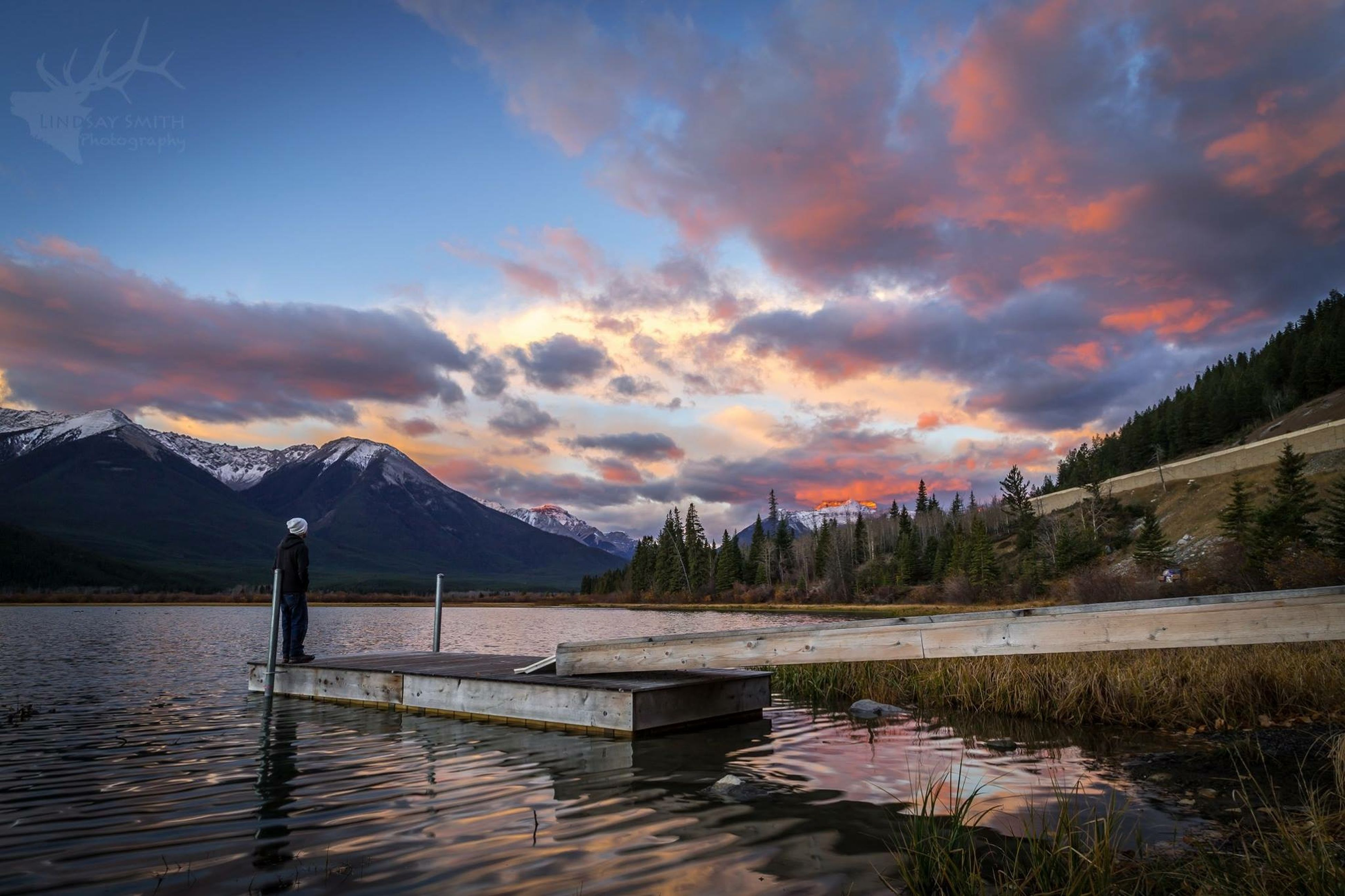 water, sky, sunset, cloud - sky, tranquility, tranquil scene, scenics, beauty in nature, lake, cloudy, nature, mountain, cloud, idyllic, pier, orange color, dramatic sky, reflection, dusk, sea