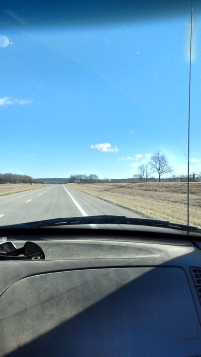 Transportation Road Sky Windshield The Way Forward Land Vehicle Clear Sky Day Landscape No People Outdoors Sunshine ☀ Blue Sky Cold Temperature Winter Time Cold ⛄ Noediting