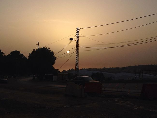 Sunset Man And Nature Electricity Pole Electricity Line
