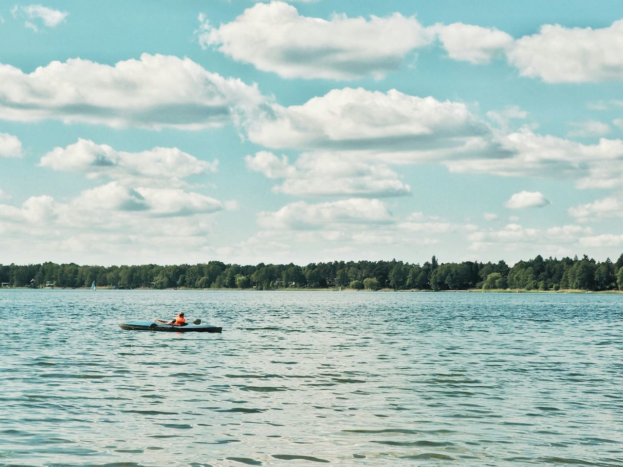 Sea Alone In Nature Water Outdoors Cloud - Sky Nature Tranquility Buoy Day Scenics Beach Sky Swimming Beauty In Nature One Person Canoeing Canoe Lake Alone On The Water One Man Only Brandenburg Wandlitzsee Wandlitz See Kanu
