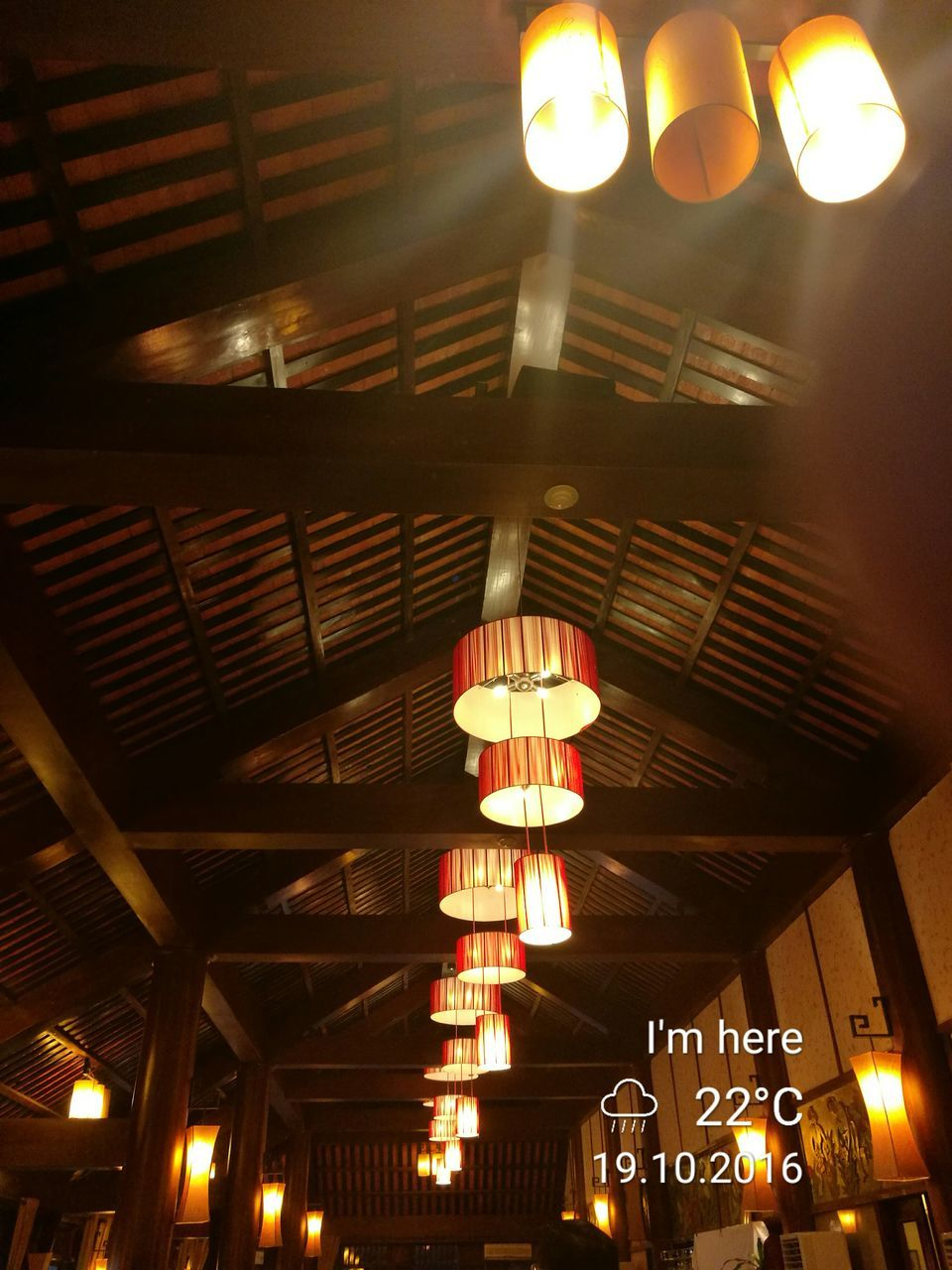 illuminated, lighting equipment, low angle view, hanging, ceiling, indoors, electricity, no people, light bulb, lantern, night, close-up