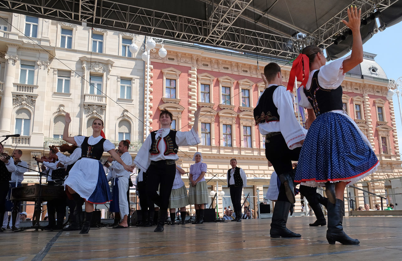 Members of folk group Skalican from Skalica, Slovakia during the 50th International Folklore Festival in center of Zagreb, Croatia on July 21, 2016 Celebration Costume Croatia Culture Dance Entertainment Event Festival Folk Folklore Heritage Historical Music Participant Perform Show Skalica Slovakia Style Tradition Zagreb