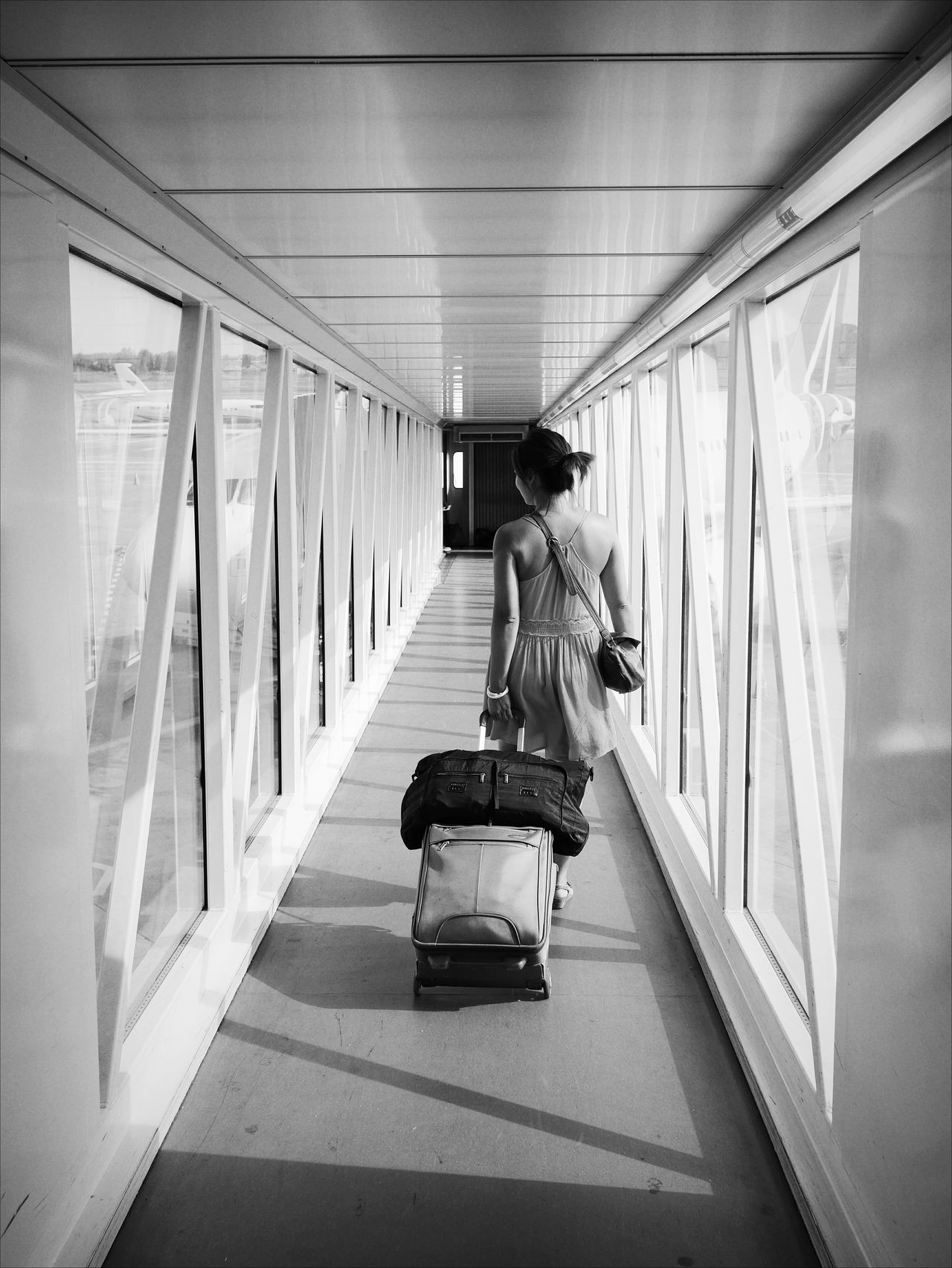 Black And White Vacation Leading Lines Airport Woman From The Back Monochrome Photography