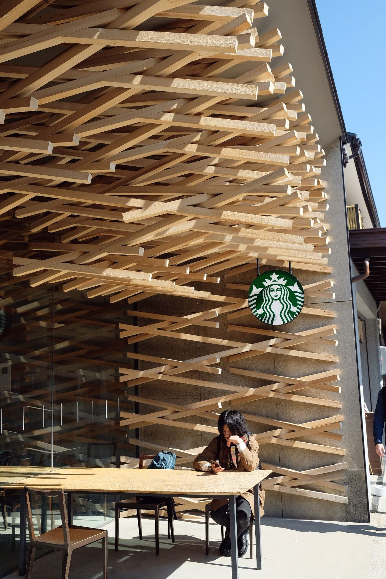 Starbuck@ Fukuoka Building Exterior Sitting City Adults Only Young Adult People Table Full Length Adult Architecture Vacations Balcony Illuminated Modern Outdoors Fukuoka,Japan Starbucks Coffee Starbucks