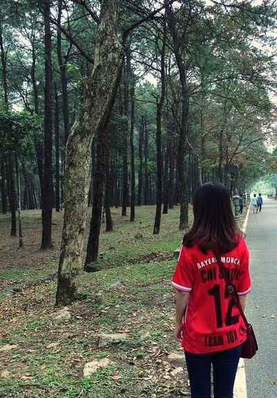 Photography EyeEm Tree Real People Rear View Nature Lifestyles Day Go Vietnam Bavi Nationalpark Vietnam Bavi Green Color Green Red Alone Travel