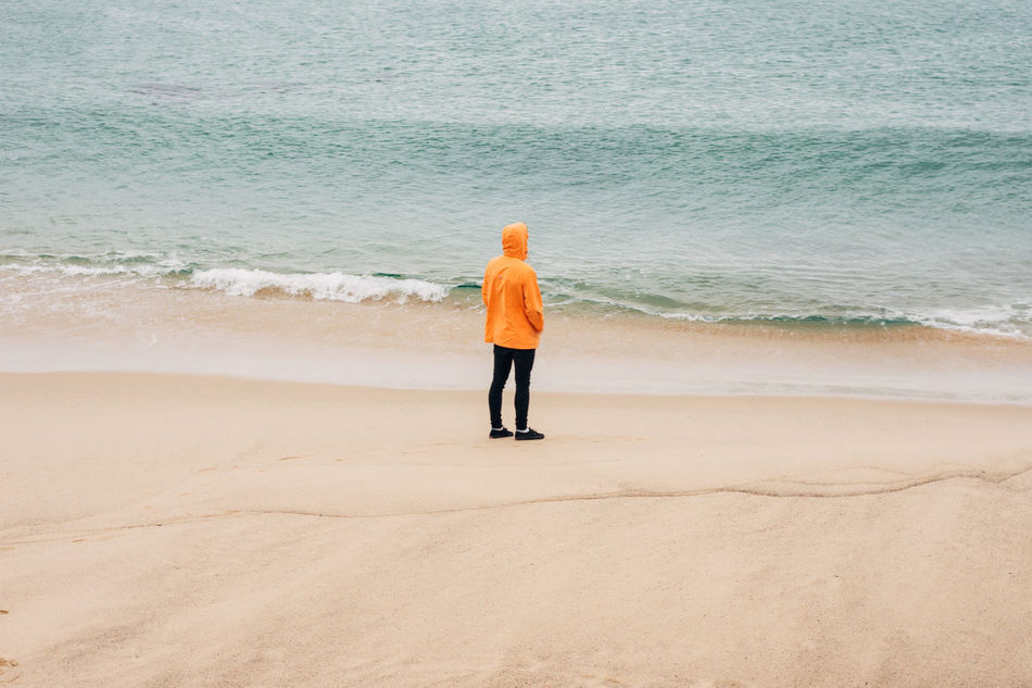 Beach Nature Ocean Orange Color Outdoors Standing On The Beach Water Waves