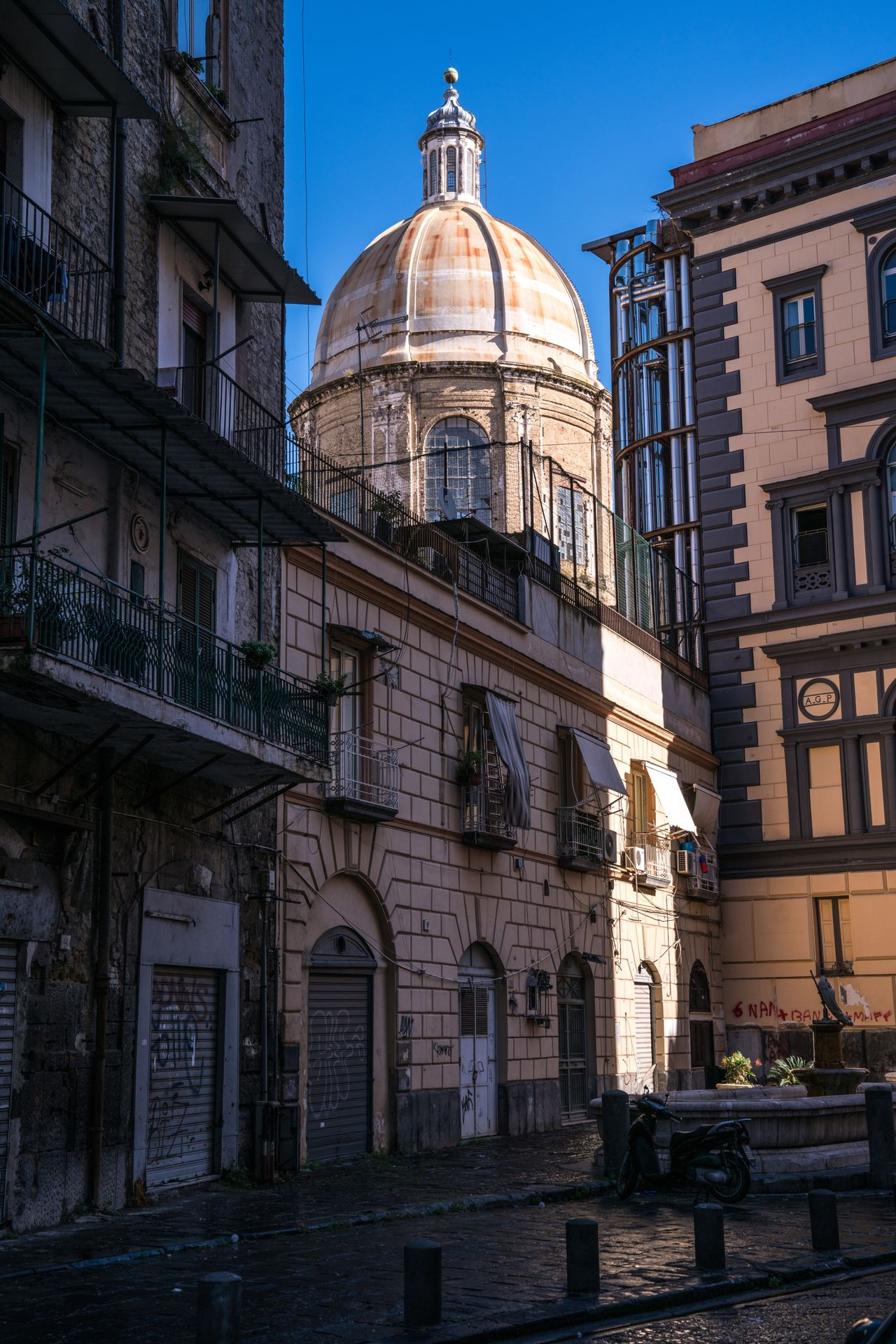 Buongiorno Napoli. Architecture Building Exterior Built Structure Dome Religion City Outdoors Spirituality Day Light And Shadow Napoli Naples Bella Italia Italy Italia Church Streetphotography Travel Traveling Travel Destinations