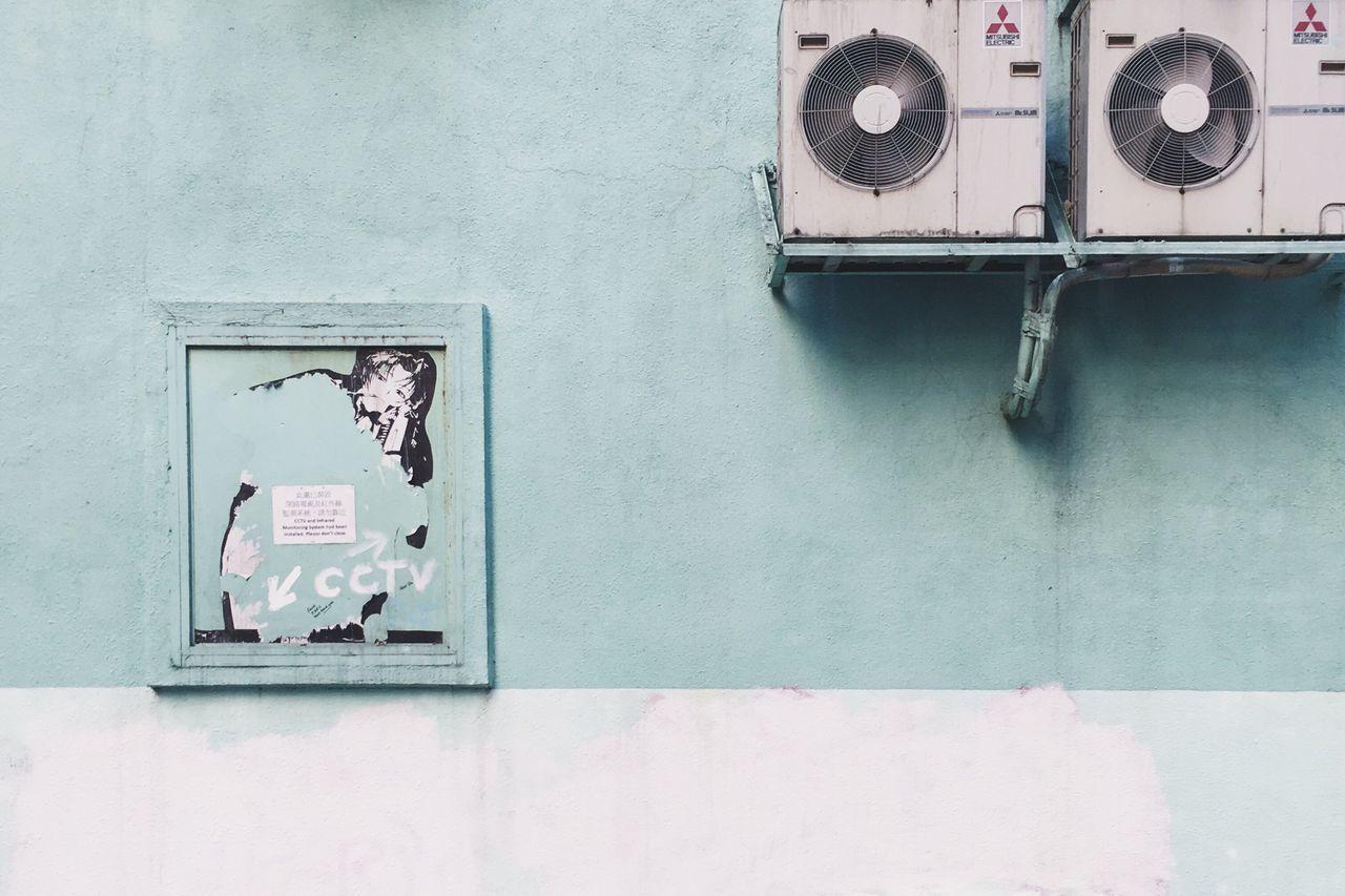 Pastel Colors Pastel Hong Kong Street Artist Street No People Outdoors Day Backyard Building Exterior Wall Daily Life Street Art Graffiti Green Color Green Wall Colourful Buildings Colourful Houses Light Blue Sky Blue Building Feature HongKong
