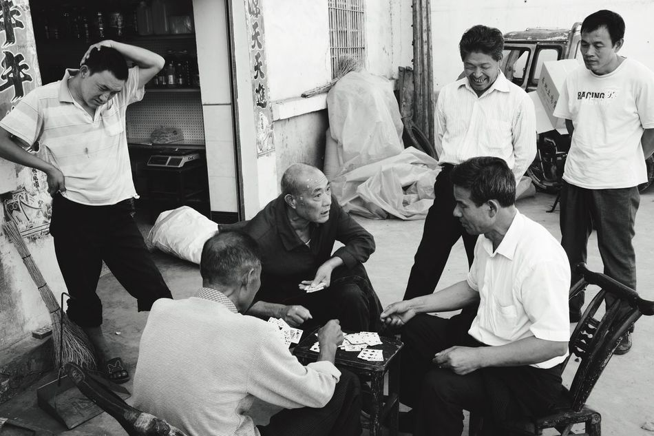 poker faces EyeEm Streetphotography Leisure Activity Blackandwhite Black And White Black And White Photography Oldman Capture The Moment Leicacamera Leicam China HuBei Poker Time Playing Playing Games 35mm