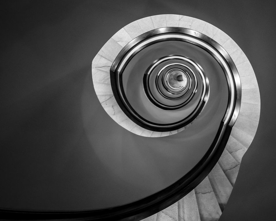 Fibonacci staircase. Fresh On Eyeem  Architecture Blackandwhite Built Structure Circle Close-up Day Fibonacci Fujifilm Hand Rail Indoors  No People Railing Spiral Spiral Staircase Spiral Stairs Staircase Stairs Steps Steps And Staircases