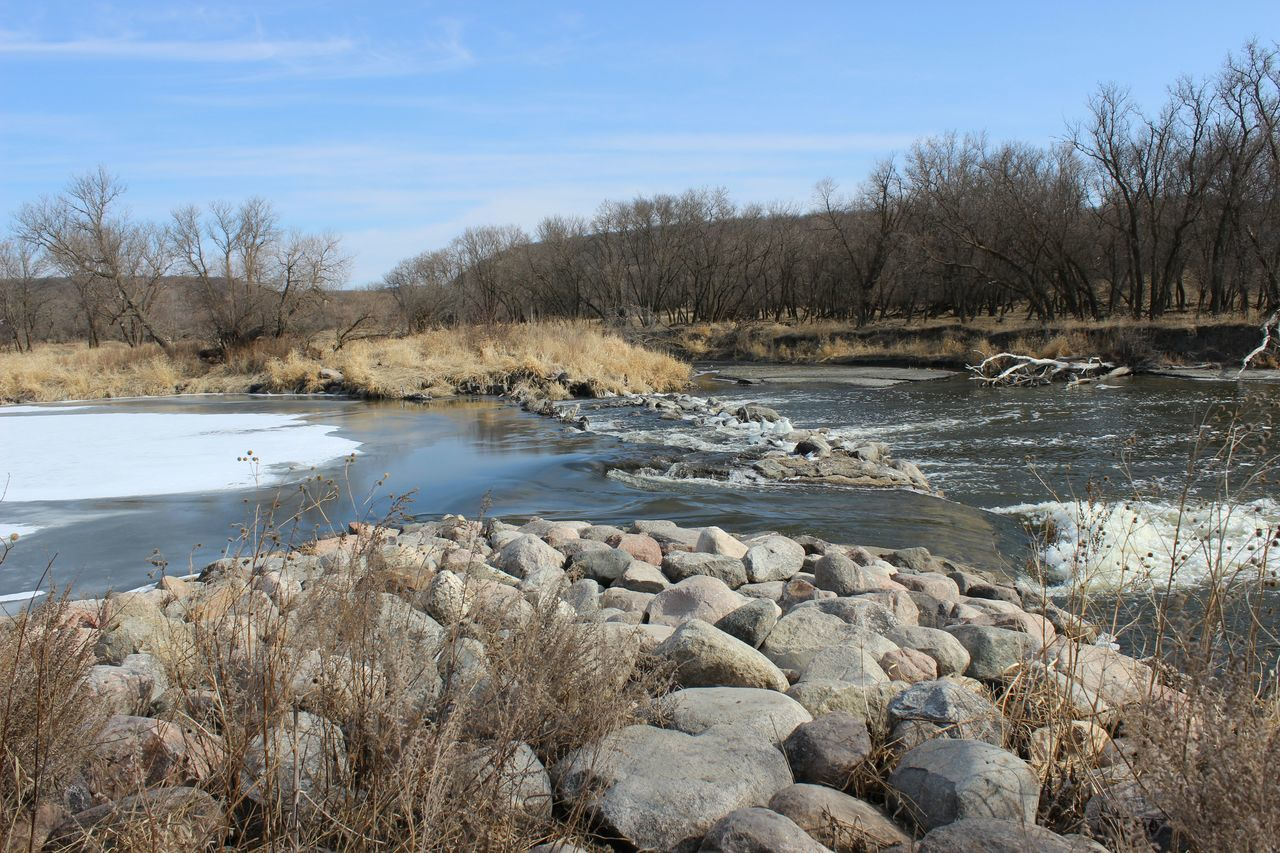 Spring Into Spring Fresh Creek Fish Ladder Ice Stream Ice And Water Rocks Blue Sky Prairie Scenes