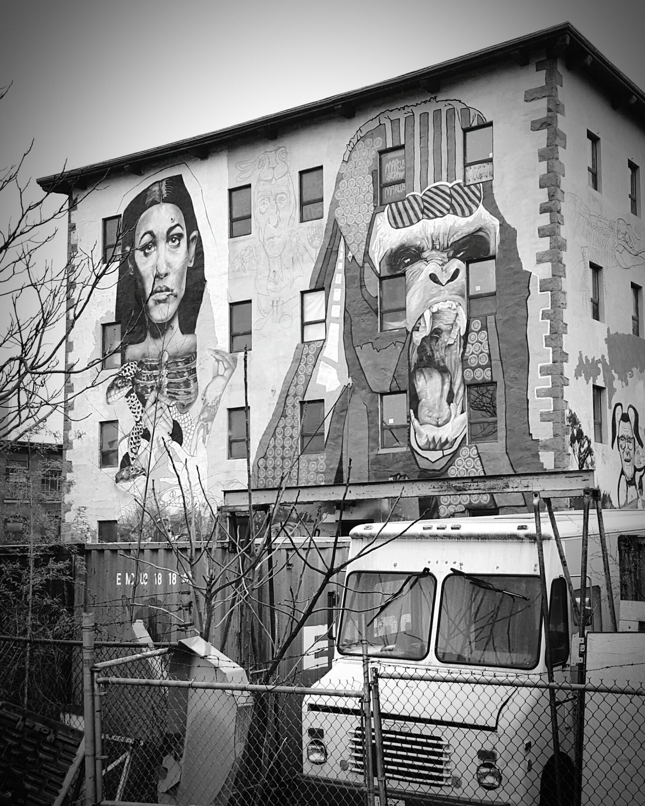 Check This Out Taking Photos Abandoned Abandoned & Derelict Abandoned_junkies Painting On The Walls Image Of Women & King Kong Graffiti Art Graffiti Wall Overcast Silver Lake District Overcast Weather ❤ S6 Mural Art Black And White Edit!Rhode Island