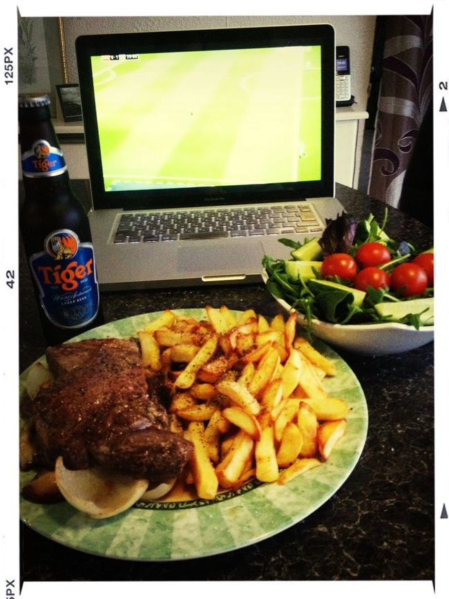 Steak and chips...& football. Result!