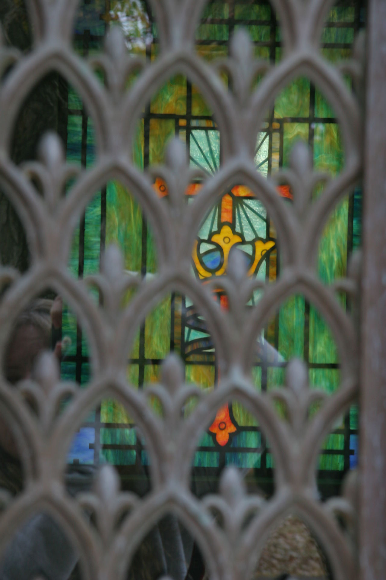Cemetery Crypt Pattern Stained Glass Window