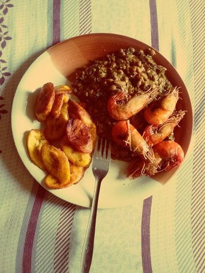 Nigerian dish: fried beans, dodo (fried ripe plantain) and lobsters First Eyeem Photo